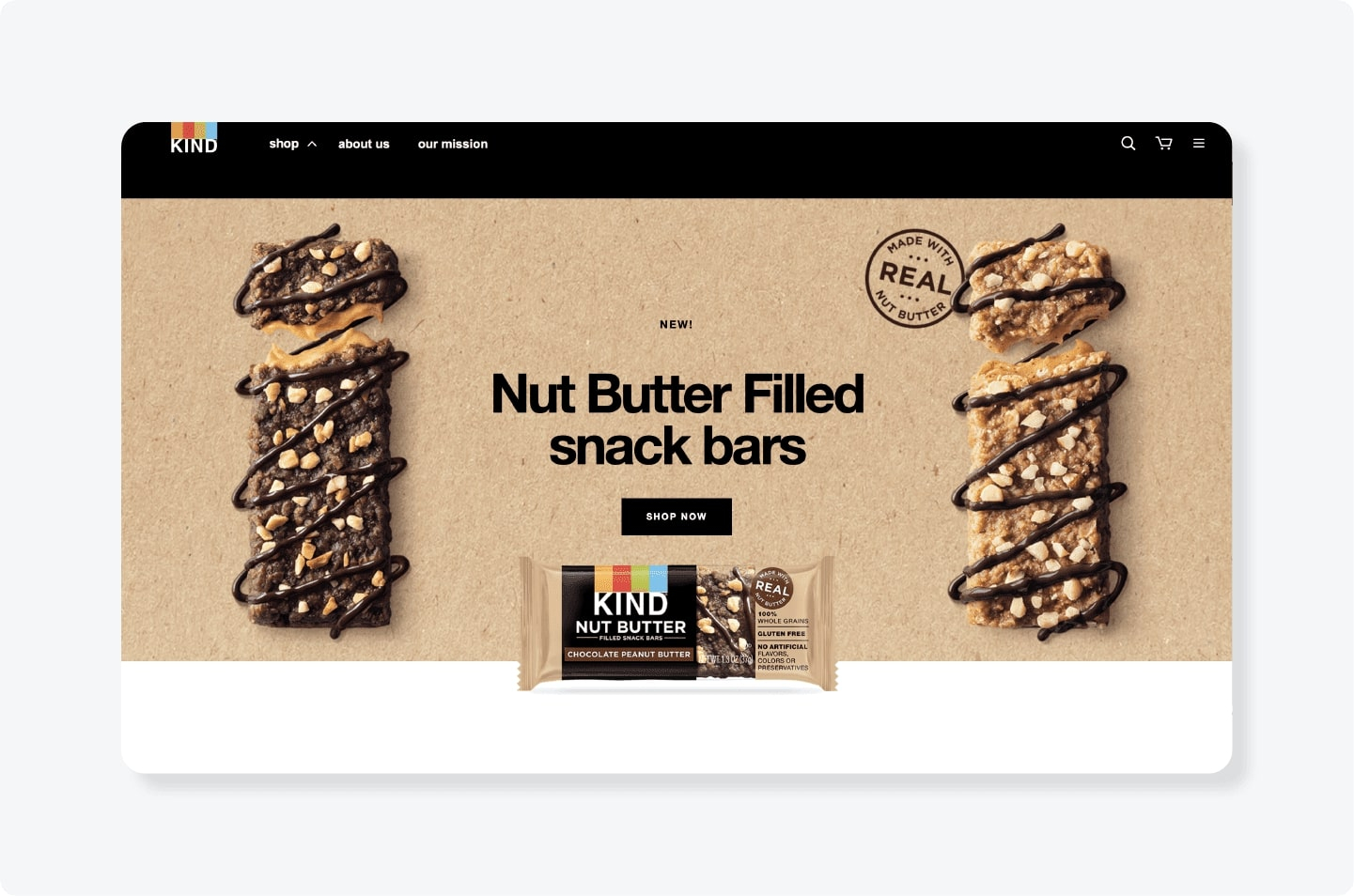 Kind Nut butter bars advertisement