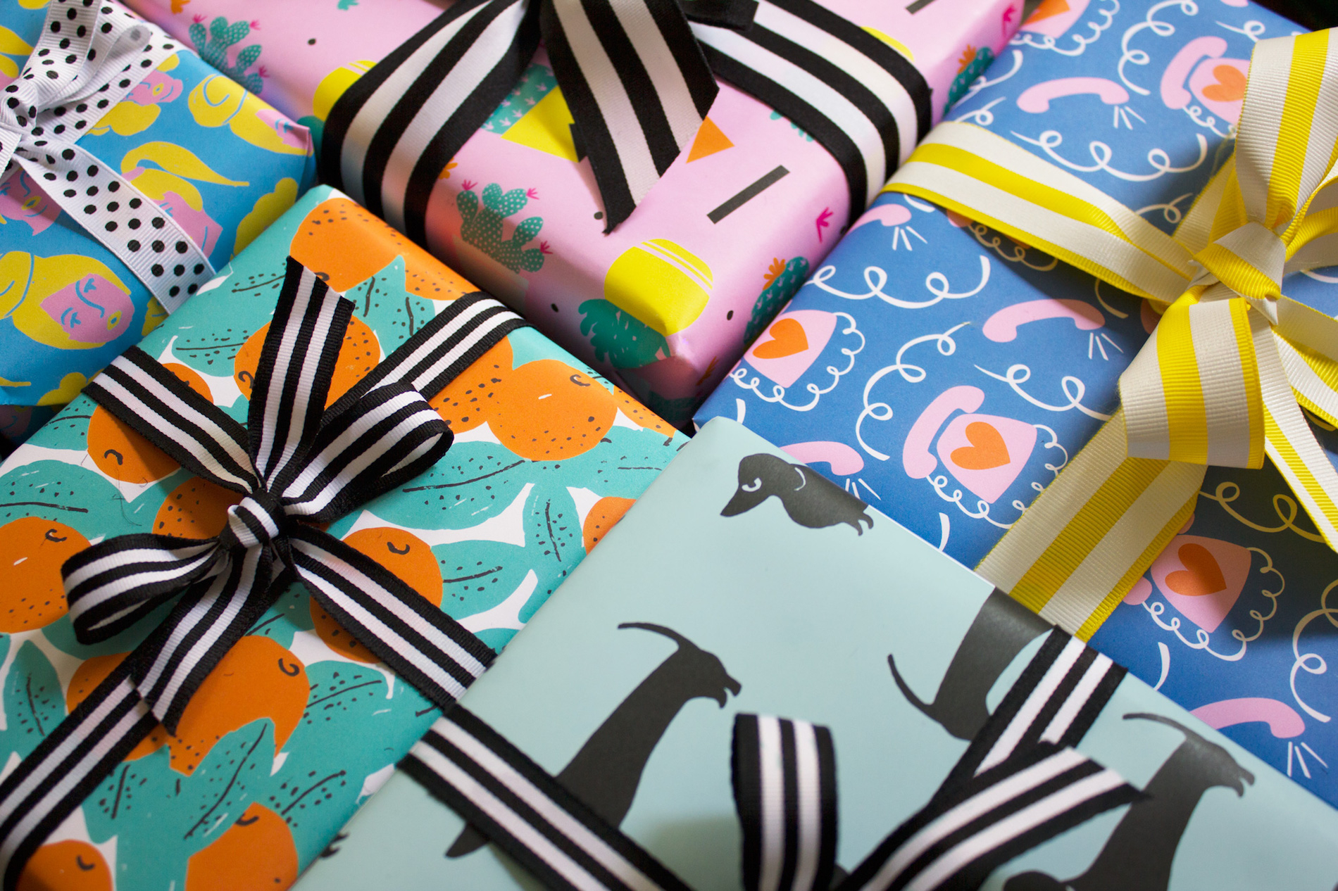 Gift-wrapped parcels