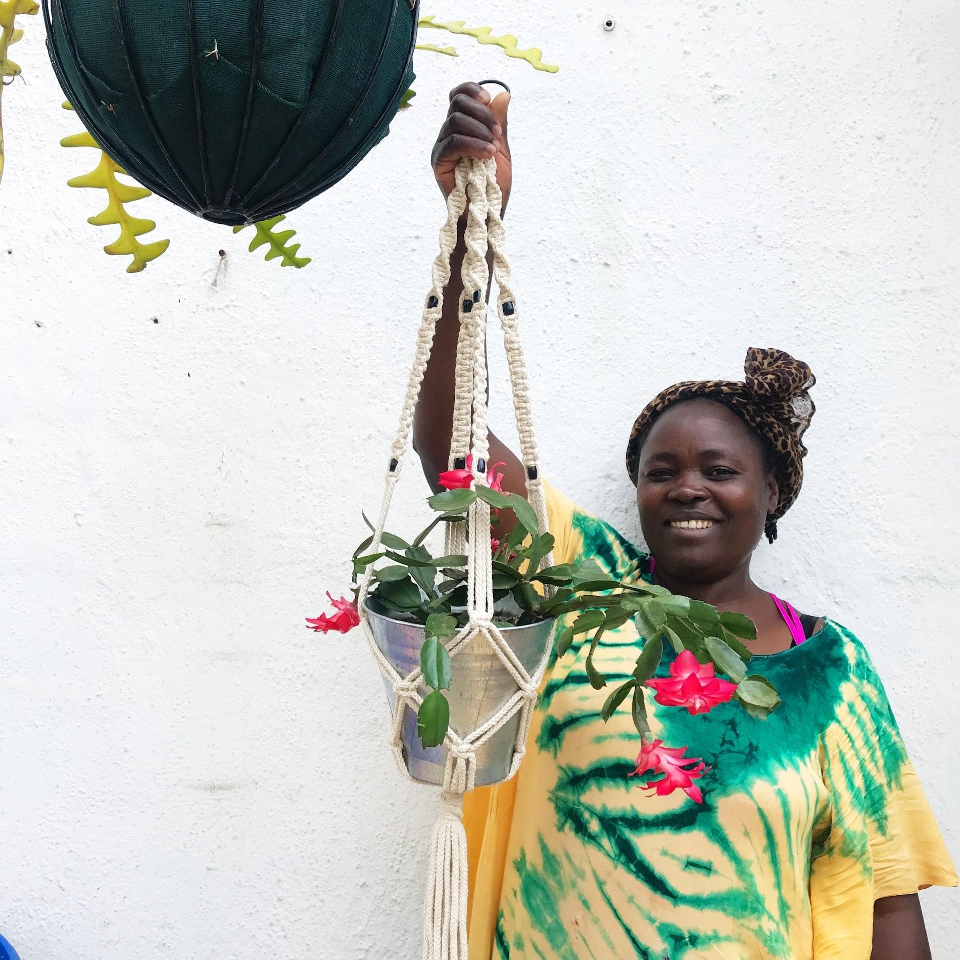 Teresa Lubano with Shop Nanjala plant holder