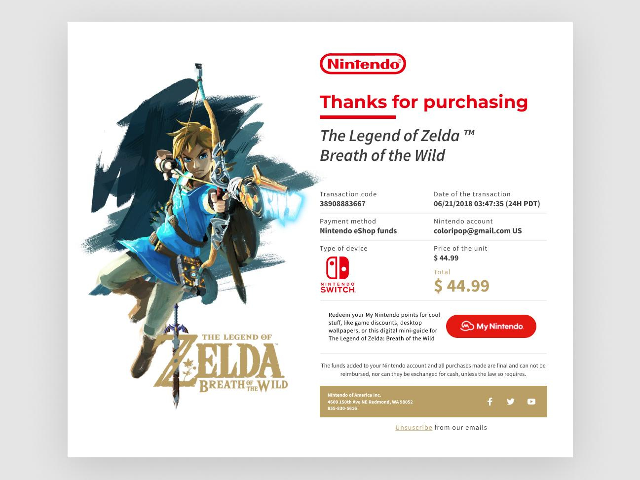 Legend of Zelda purchase confirmation email