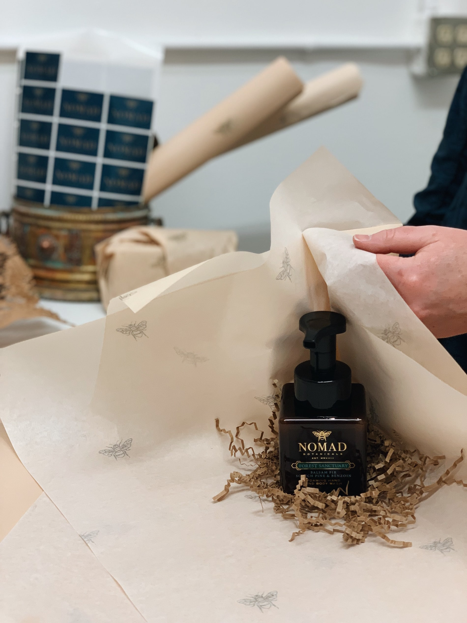 Nomad Botanicals wrapping station